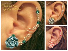 Sale Prom 1 Pair Cartilage Ear Cuffs Summer Rose di WolfandFirefly