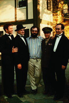 """James Caan, Marlon Brando, Francis Ford Coppola, Al Pacino, John Cazale. """"The Godfather"""" directed by Francis Ford Coppola. Behind the scenes photos. Al Pacino, Marlon Brando, Corleone Family, Don Corleone, The Godfather, Godfather Series, Godfather Actors, Great Films, Good Movies"""