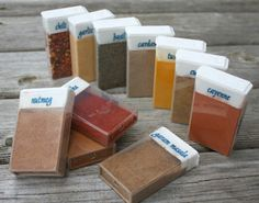 Spices in tic tac containers.