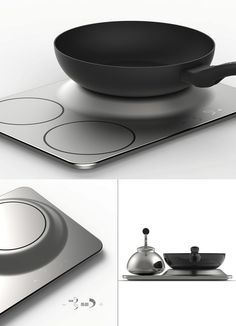 Ever run out of room on your stovetop while cooking? If so, that's probably due to the narrow spacing on a conventional induction stove. Read more at Yanko Design Induction Stove, Induction Cookware, Kitchen Appliance Storage, Kitchen Appliances, Kitchen Electronics, Kitchenware, Tableware, Yanko Design, Smart Kitchen