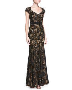 Cap-Sleeve Lace Mermaid Gown by Diane von Furstenberg at Bergdorf Goodman.