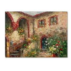 "Found it at Wayfair - ""Tuscany Courtyard"" by Rio Painting Print on Canvas http://www.wayfair.com/daily-sales/p/The-Home-Gallery%3A-Canvas-Wall-Art-%22Tuscany-Courtyard%22-by-Rio-Painting-Print-on-Canvas~HYT4434~E20265.html?refid=SBP.rBAZEVKJnI-FWyK-eslQAtKajXXCo0oAtMutwrxHne8"