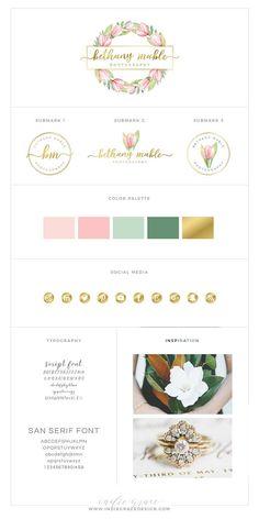 Custom Premade Botanical Logo Design  Pink or Yellow Tulip