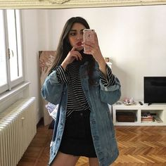 @styleaddict miniskirt, striped tee and oversized denim jacket what more could a girl need !! #90svibe