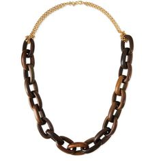 Kenneth Jay Lane Golden Chain & Chunky Wood Link Necklace ($56) ❤ liked on Polyvore featuring jewelry, necklaces, polished g, double strand necklace, kenneth jay lane necklace, chains jewelry, polish jewelry and kenneth jay lane jewelry