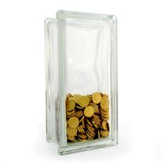 Put that spare change towards a savings goal and watch it grow in this clear glass block money box.