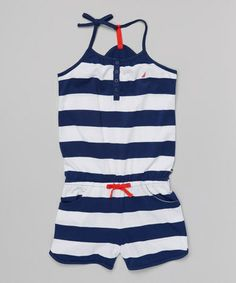 Look at this #zulilyfind! Sail White & Navy Stripe Sporty Romper - Girls by Nautica #zulilyfinds