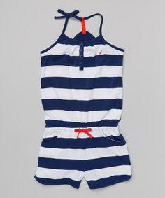 Look at this #zulilyfind! Sail White & Navy Stripe Sporty Romper - Girls by Nautica #zulilyfinds