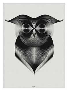 Patterned Owl drawing. Andrea Minini's Animals in Moiré uses a style pattern known as moiré, in which the interplay of multiple sets of lines creates depth and contour. More at our site.
