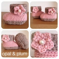 Gorgeous baby booties - pink and oatmeal with a pink flower and pearl. From Opal & Plum ༺✿ƬⱤღ https://www.pinterest.com/teretegui/✿༻