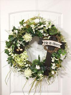 Easter Wreath, Floral Easter Wreath, Cross Wreath, Grapevine Wreath, Easter Grapevine, He Has Risen, Easter Decor, Spring Decor, Cross Decor by CharmingBarnBoutique on Etsy