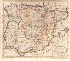 Spain and Portugal from the Best Authorities - Antique Maps and Charts – Original, Vintage, Rare Historical Antique Maps, Charts, Prints, Reproductions of Maps and Charts of Antiquity