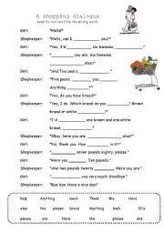 English worksheet: A shopping dialogue
