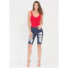 Just Destroyed Denim Bermuda Shorts ($33) ❤ liked on Polyvore featuring shorts, blue, bermuda shorts, stretch bermuda shorts, destroyed denim shorts, distressed denim shorts and zipper pocket shorts