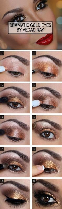 Dramatic Gold Eye Makeup Tutorial