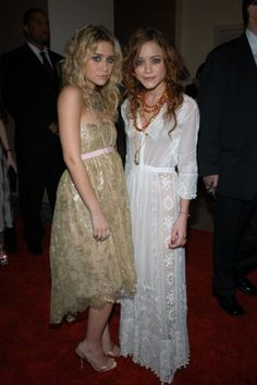 The Olsen twins style file: Ashley and Mary-Kate Olsen at the 2005 Costume Institute Gala. Ashley wears Oscar de la Renta.