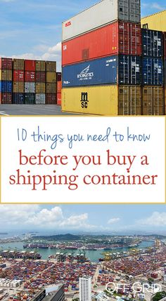 10 Things You Need To Know BEFORE You Buy A Shipping Container - Off Grid World Things you need to know before you buy a shipping container Shipping Container Storage, Shipping Container Buildings, Shipping Container Home Designs, Shipping Container House Plans, Storage Container Homes, Shipping Containers, Cargo Container, Storage Containers, Off Grid