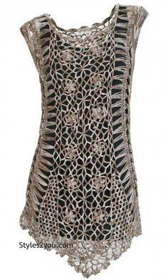 AP Genevieve Crochet Tunic In Brown: