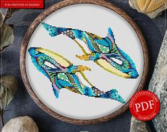 Mandala Whales Cross Stitch Pattern for Instant Download - 226| Lovely Cross Stitch| Room Decor| Needlecraft Pattern| Easy Cross Stitch