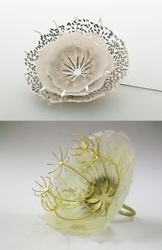 "Sabrina Meyns ""creates incredibly delicate and intricate jewellery and sculptural pieces using handmade paper and precious metals, crossing boundaries between these two materials by combining them in innovative ways."" I think they are exquisite! (click through to blog Something: Organic lovliness)"