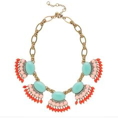 J.Crew Fan fringe necklace ($148) ❤ liked on Polyvore featuring jewelry, necklaces, accessories, collares, colares, sunwashed aqua, tri color necklace, collar necklaces, multi colored necklace and adjustable necklace