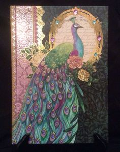 Pooch & Sweetheart Majestic PEACOCK Jeweled hardback journal/notebook 100 PAGES