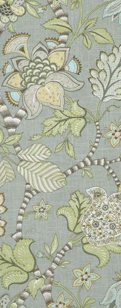 Pretty floral for Gray, green blue rooms. P. Kaufmann Clarice/Cir Dove Fabric