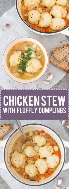 Nothing better than a bowl of warm Chicken Stew with Fluffy Dumplings to warm you on a cold winter day. Real comfort food!   www.vibrantplate.com