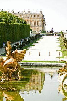 Paris Chateau de Versailles Fountain and Chateau