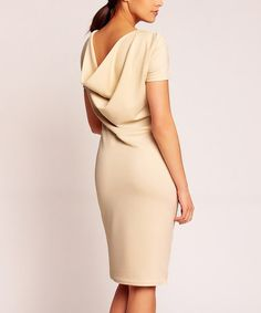 This Beige Drape-Back Dress is perfect! #zulilyfinds