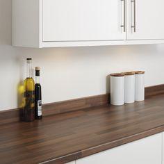 Walnut Block Effect upstand Oak Kitchen Worktops, Ivory Kitchen, Grey Bathrooms, Work Tops, Kitchen Design, Kitchen Ideas, Sweet Home, Shabby Chic, Oak Kitchens