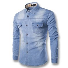 >> Click to Buy << Men Denim Jeans Shirts Male Casual Fashion Slim Fit Fitness Long Sleeved Plus Size Men Shirts Hombre Camisa Masculina M-6XL #Affiliate