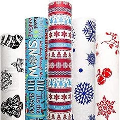 Amazon.com: Christmas Wrapping Paper White Red Blue with Pattern 5 Roll 30 Inch x 10 Feet Per Roll Xmas Tree Holiday Elf Hanukkah Deer Santa Snowmen Candle Snow: Health & Personal Care Xmas Wrapping Paper, Vintage Wrapping Paper, Christmas Gift Wrapping, Creative Gift Wrapping, Creative Gifts, Cool Gifts, Best Gifts, American Greetings, Xmas Holidays