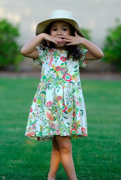DRESS Pleat Skirt Toddler Girls Kids, Pima Cotton Jersey, Ivory Floral Flowers Print Handmade 2T 3T 4T 5 6 Classic Olive and Lou Trending