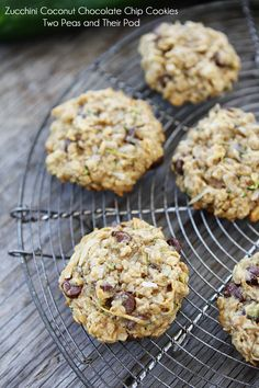 These are probably one of my all time favorite cookies! Zucchini Coconut Chocolate Chip Cookies by @Maria Canavello Mrasek (Two Peas and Their Pod)