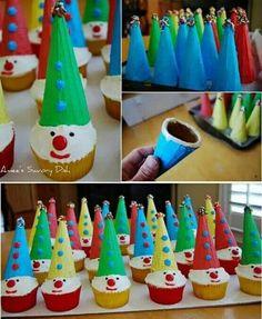 Recipes, DIY, Craft, Gardening, Crochet and Kids activities. Clown Cupcakes, Clown Cake, Kid Cupcakes, Cupcake Cakes, Circus Food, Circus Cakes, Carnival Birthday Parties, Circus Birthday, Clown Party