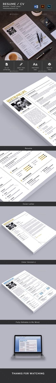 Resume Template PSD, AI, DOCX & DOC - A4 & US Letter Size