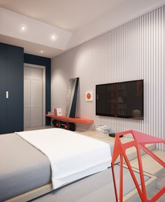 When we glimpse into this bedroom, we see some very modern, simple elements that create a perfect retreat for a teen.