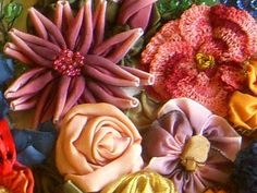 Long before I took the class with Candace Kling I was making and arranging flowers. I think some of these are from her book Paper Ribbon, Ribbon Art, Fabric Paper, Ribbon Crafts, Flower Crafts, Diy Crafts, Felt Flowers, Diy Flowers, Crochet Flowers