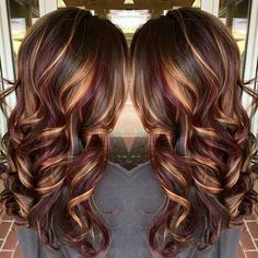 Ruby and gold highlights hair tips hair care pinterest fall hair color brunette hair color with burnished blonde highlights curly long brunette hair pmusecretfo Gallery