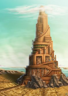 Tower of Babel - Scenery Assignment, Henrique P. Fantasy City, Fantasy World, Dungeons And Dragons Classes, Art Assignments, Tower Of Babel, Ancient Mesopotamia, Biblical Art, Fantasy Inspiration, Fantasy Landscape