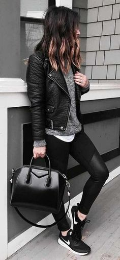 51 Stunning Casual Fall Outfit with Sneakers - Fall Shirts - Ideas of Fall Shirts Fall Shirts for sales. - 51 Stunning Casual Fall Outfit with Sneakers Outfit Outfit Outfits Leggins, Leather Jacket Outfits, Black Leather Jackets, Black Leather Jacket Outfit, Brown Leather, Leggings Outfit Winter, Biker Jacket Outfit Women, Leather Leggings Outfit, Leather Jacket Styles