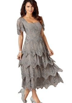 Beaded Tiered Empire Waist Gown   Plus Size Special Occasion Dresses   OneStopPlus