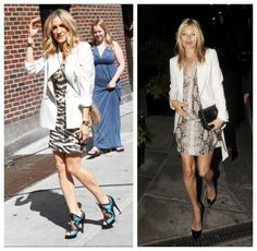 both such cute outfits- pairing white blazer with animal prints
