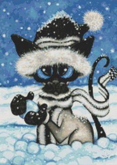 Modern cat cross stitch kit by AmyLyn Bihrle Siamese Cat Cat counted Cross Stitch Kits
