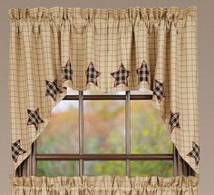 If you love all things country, you will love our Bingham Star Applique Lined Swag Curtains! https://www.primitivestarquiltshop.com/products/bingham-star-applique-lined-swag-curtains #countrystylecurtains