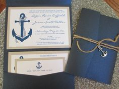 Nautical Theme, Destination Wedding Invitation, Anchor, Navy Blue, Pocket…