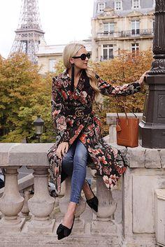 Floral coat, black w