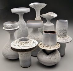 Jeremy Briddell Pottery shows amazing groupings which, as a group, create a larger work that has even more of a presence.