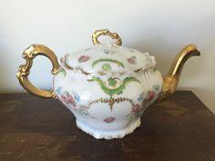 Limoges France Coronet Teapot Pink Roses Gold Trim Details Ornate